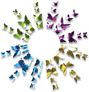 48pcs 3D Butterfly Wall Stickers,3 Sizes Butterflies Wall Decals Removable Mural Stickers Decor for Home and Room Decoration (3D Butterfly-2)