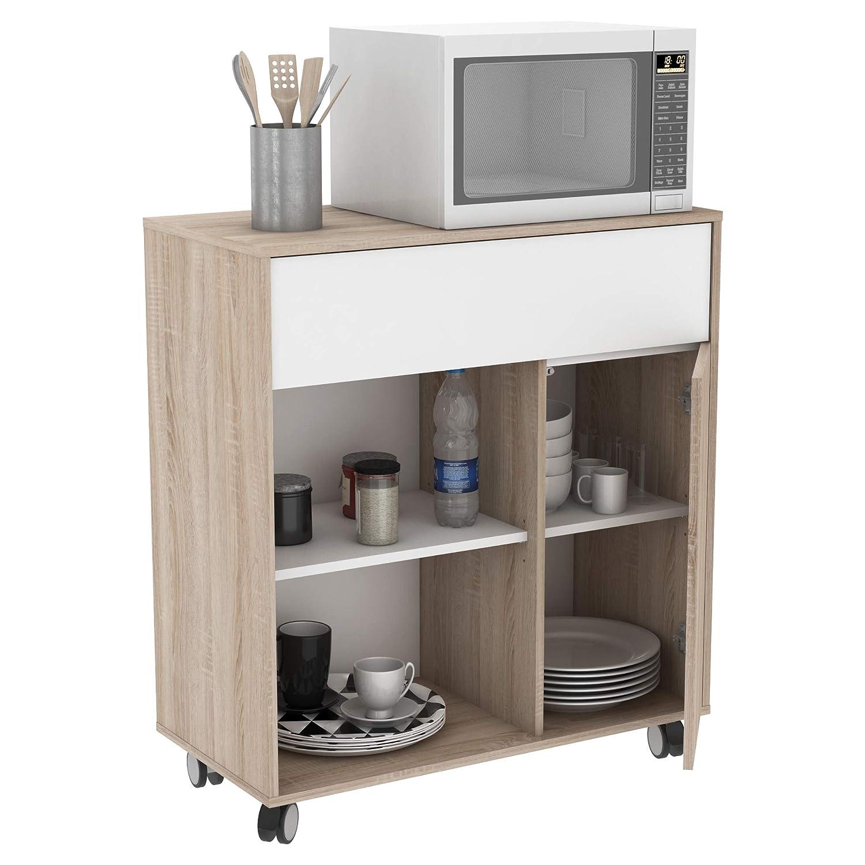 Miroytengo Mueble microondas Cocina con Ruedas bufe Color Roble y Blanco cajón Armario Hueco 90x81