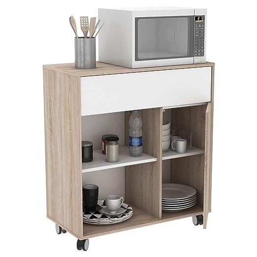 Miroytengo Mueble microondas Cocina con Ruedas bufe Color Roble y ...