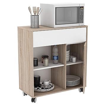 Miroytengo Mueble Microondas Cocina Con Ruedas Bufe Color Roble Y - Cocinas-color-roble
