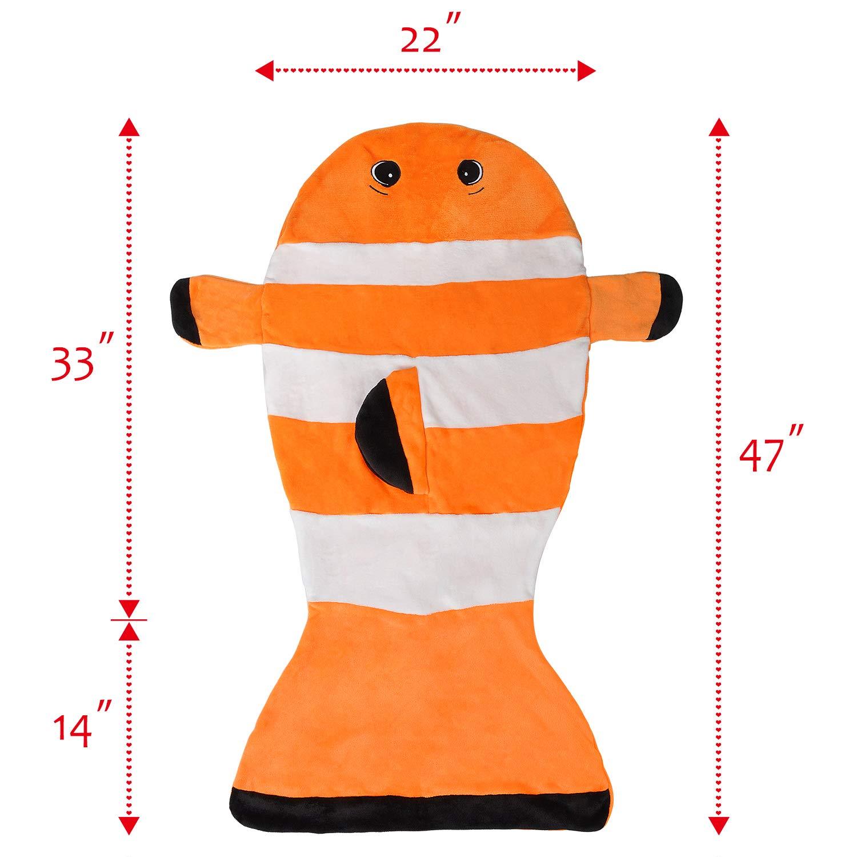 Clownfish Tail Blanket for Kids, Super Soft Fleece Sleeping Bag for Toddler Teen Girls Boys, Great Gift Idea