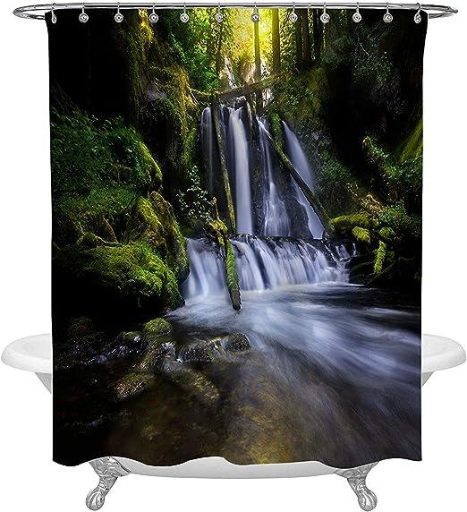 Rainforest Waterfall Foliage Jungle Misty Mountains Polyester Shower Curtain