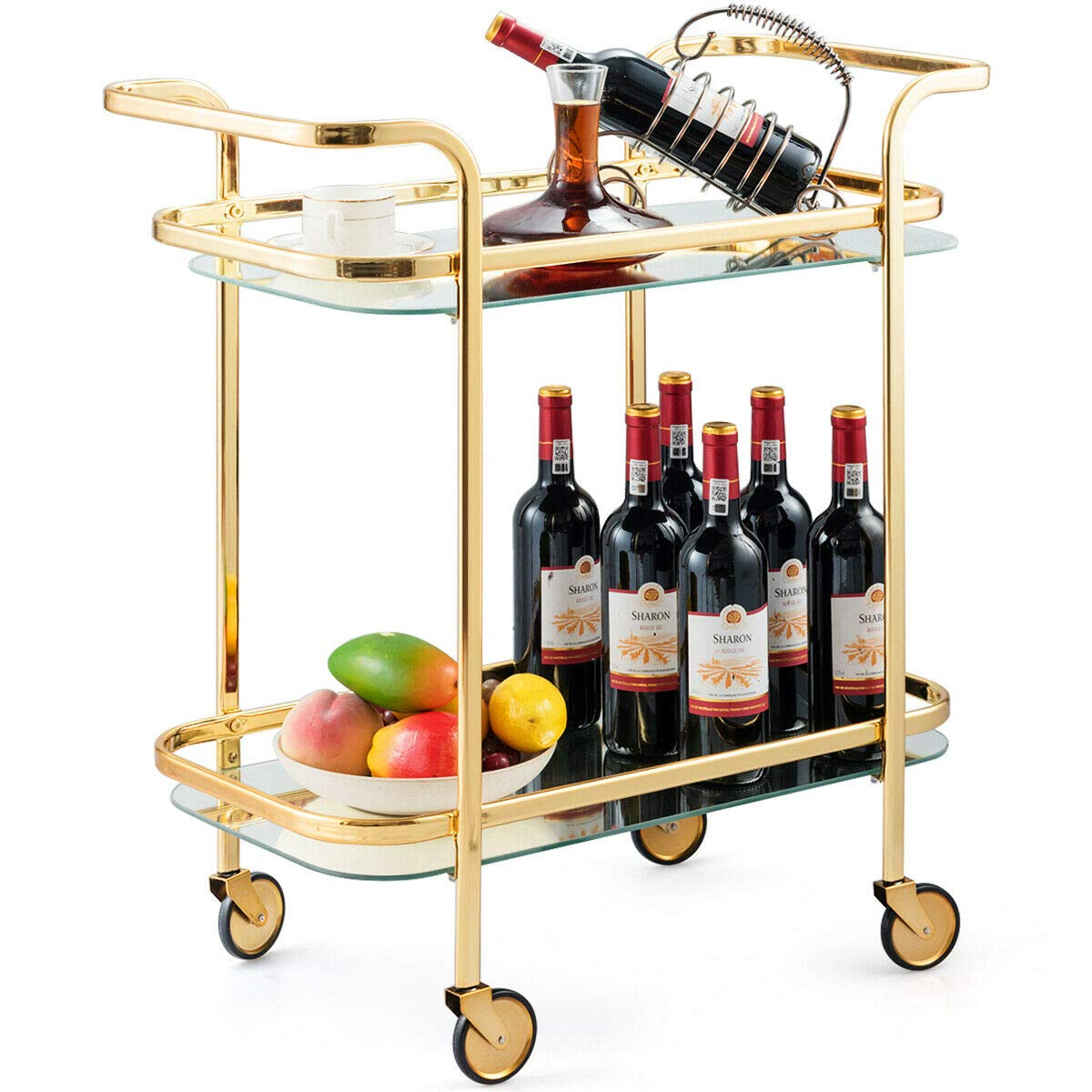 Tangkula Gold Bar Cart, Rolling Serving Cart with Metal Frame and 2 Tempered Glass Shelves, Easy to Move with 4 Wheels, Ideal for Kitchen, Living Room, Hotel, Wine/Tea Serving Cart (Gold) by Tangkula