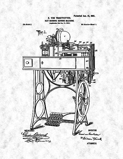 Amazon Com Hat Binding Sewing Machine Patent Print Gunmetal 8 5 X