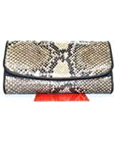 100% GENUINE PYTHON SNAKE SKIN LEATHER WOMEN'S CLUTCH TRIFOLD WALLET NEW NATURAL BLACK & WHITE
