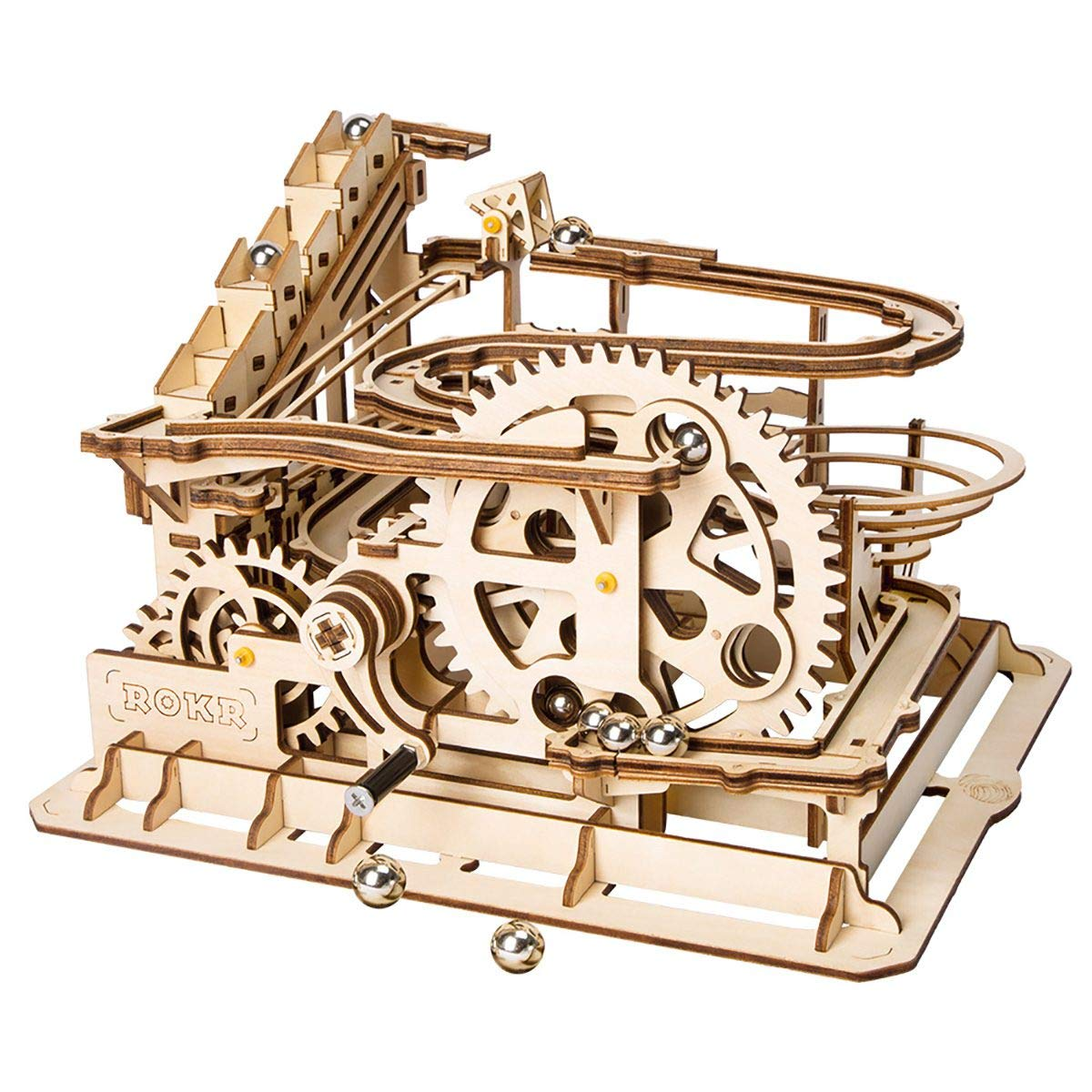 ROKR 3D Wooden Puzzle Adult Craft Model Building Set Mechanical Marble Run Games Home Decoration-Educational Toy for Christmas,Birthday Gift for Boys and Girls Age 14+(Magic Crush Waterwheel Coaster) by ROKR