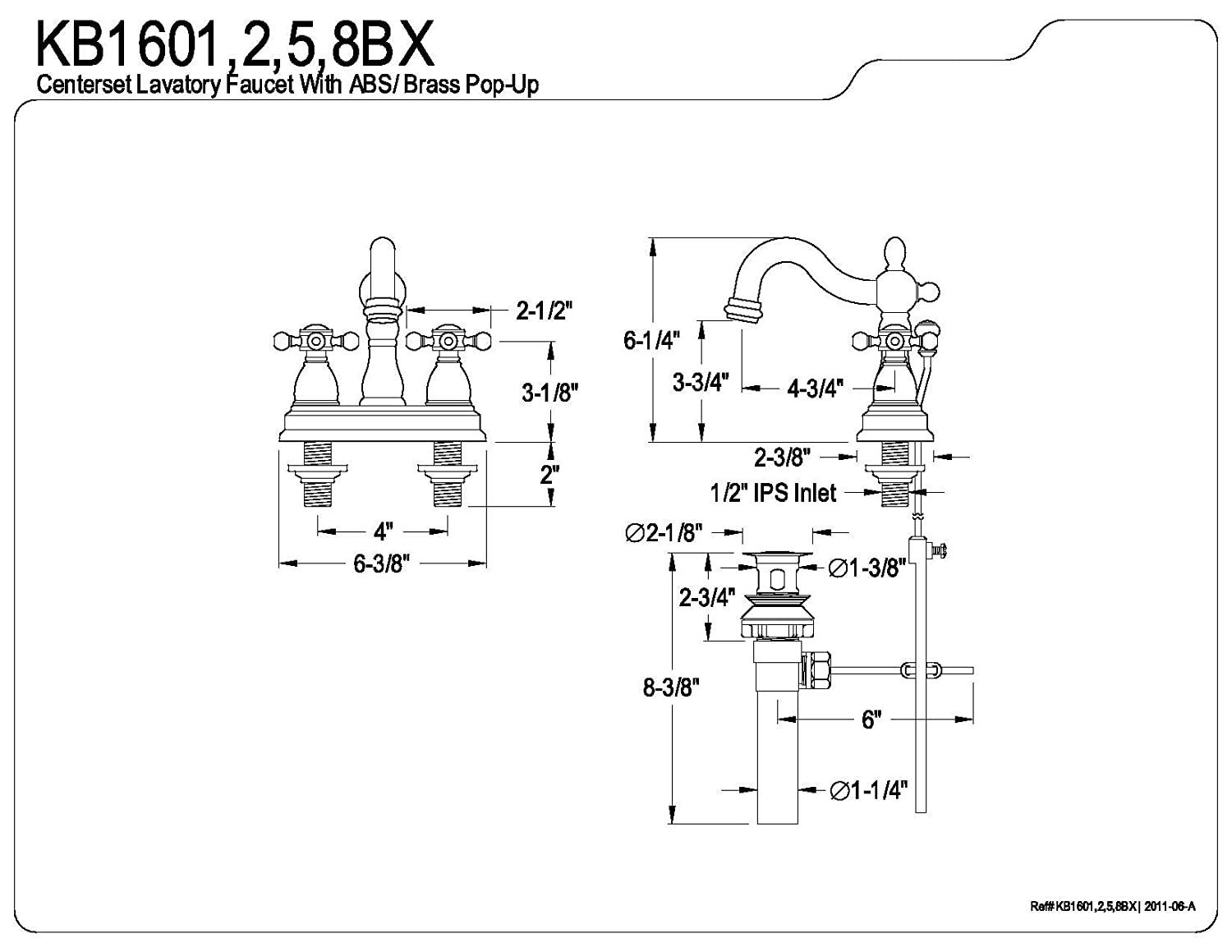 Kingston Brass KB1608BX Heritage 4-inch Centerset Lavatory Faucet with Metal Cross Handle, Brushed Nickel - - Amazon.com