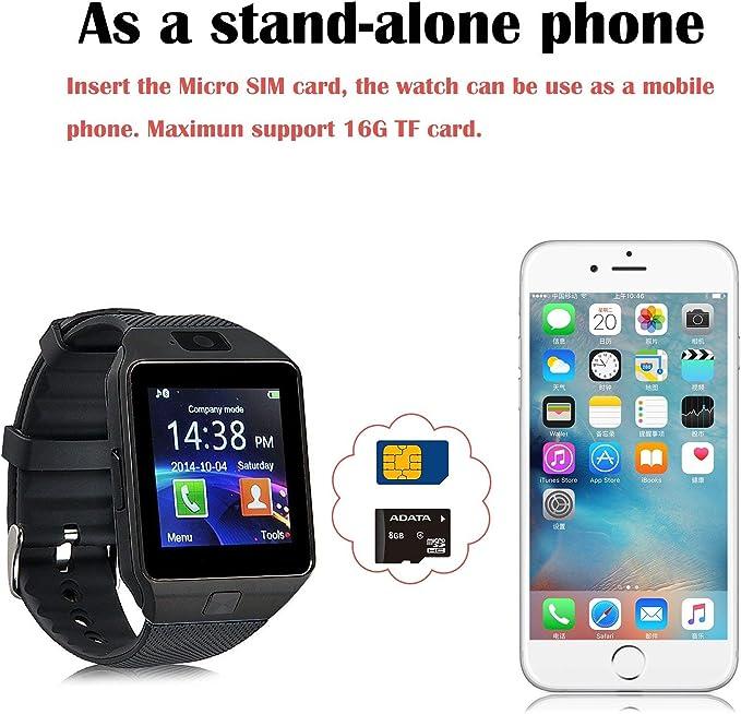 Smartwatch con Podómetro, Reloj Inteligente Android con Cámara TF ...