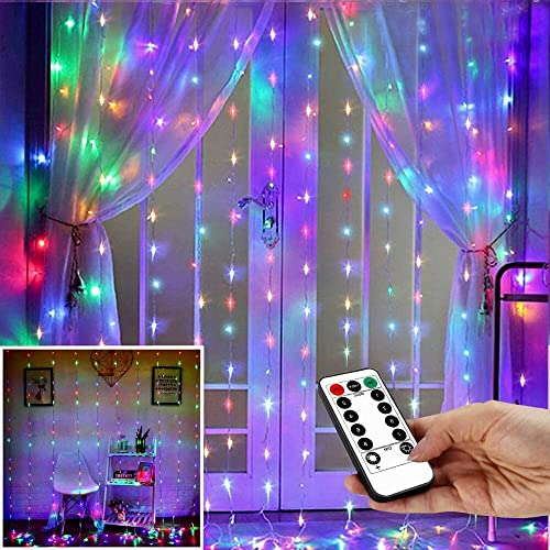 String Lights Curtain,USB Powered Fairy Lights for Party Bedroom Wall,IP64 Waterproof Ideal for Outdoor Garden Decorations Multi-Colored,7.9Ft x 5.9Ft