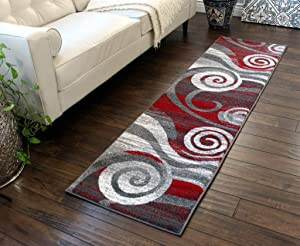 Masada Rugs, Stephanie Collection Area Rug Modern Contemporary Design 1103 Red Grey White (2 Feet X 7 Feet 3 Inch) Runner