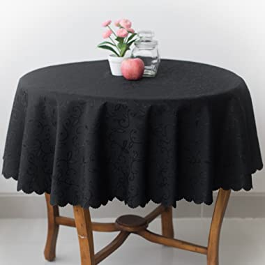 Turkish Tablecloth Polyester Table Linen, Stain Resistant, Wrinkle free, Non-Iron, Dust-proof, Heavy Duty, Oblong, Square, Round – Table cover for Wedding, Party, Gift (BLACK, Round 60 )