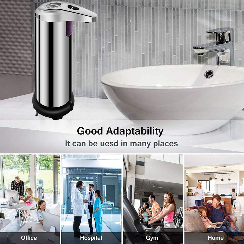 Suitable for Bathroom Kitchen Hotel Restaurant(Black) OZMI Automatic Soap Dispenser Adjustable Switch Newest Auto Hand Infrared Soap Dispenser Upgraded Stainless Steel Touchless Waterproof Base