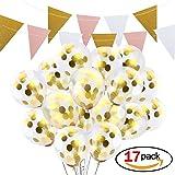 Globos de Confeti,Ndier 12 Pulgadas Globos de Fiesta de Latex Transparentes,Llenos de puntos de Confeti para Decoración de Fiesta,Cumpleaños, Bodas (16 Pcs globos + banda de tela de colores)