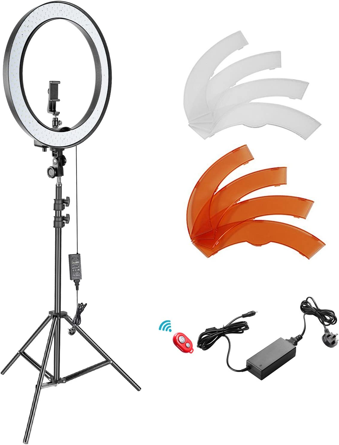 Neewer 18-inch Outer Dimmable SMD LED Ring Light Kit with 78.7 inches Light S...