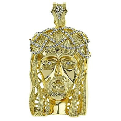 Amazon big jesus piece pendant gold tone iced out chunky big jesus piece pendant gold tone iced out chunky bling hip hop charm aloadofball Image collections