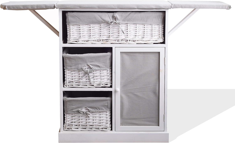 Rebecca Mobili Mueble para Coser, Tabla de Planchar, Ahorra Espacio, Estilo Shabby, Gris Blanco, lavaderos Cocina- Medidas: 84 x 119 x 35 cm (AxANxF) - Art. RE6066