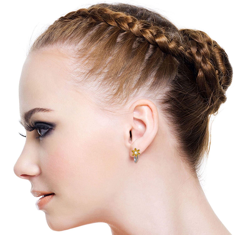 ALARRI 1.1 CTW 14K Solid White Gold Loving And Love Citrine Diamond Earrings