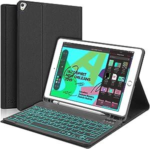 iPad 8th Gen Keyboard Case 2020 10.2 inch - iPad 7th Gen - iPad Air 3, Support Pencil Holder - Magnetically Detachable Wireless Backlit Keyboard - Folio Cover for New iPad 7th Gen, Black