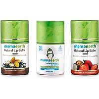 Mamaearth Natural Lip Balm For Women With Shea Butter & Strawberry + Lip Balm For Women & Men With Cocoa Butter & Chocolate + Lip Balm for Babies With Coconut Oil, Cocoa Butter & Orange