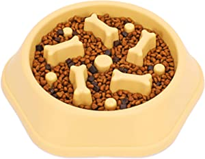 Slow Feeder Dog Bowl, Anti-Gulping Slow Eating Bowl, Stop Bloat No Choking Bowl for Small Medium Dogs, Food Water Bowl Slow Feeder for Fast Eaters, Reduce Slip Slow Pet Bowl, 1.5 Cups/ 12 Oz