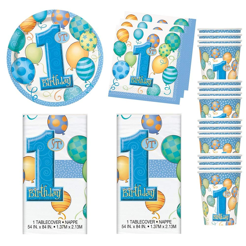 1st Birthday Blue Boy Baby First Plastic Tablecloth Balloons Party 54 in x 84 in