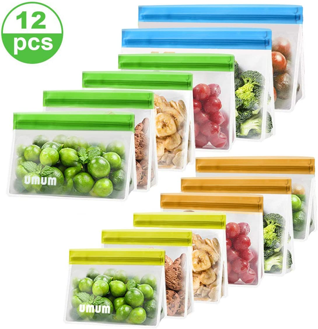 Reusable Food Storage Bags, 12 Pack PEVA Reusable Freezer Bags(2 Reusable Gallon Bags + 4 Reusable Lunch Bags + 3 Reusable Sandwich Bags + 3 Leakproof Reusable Snack Bags) Ziplock Lunch Bags BPA FREE