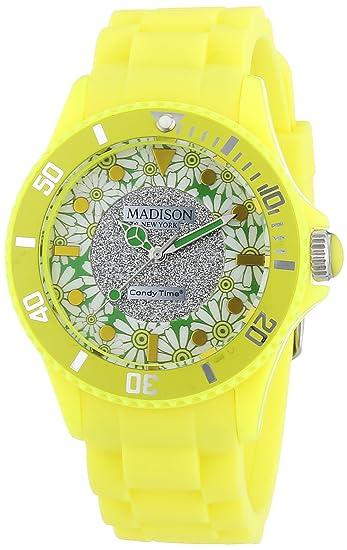 MADISON NEW YORK Candy Time® Flower Power - Reloj de cuarzo para mujer, correa