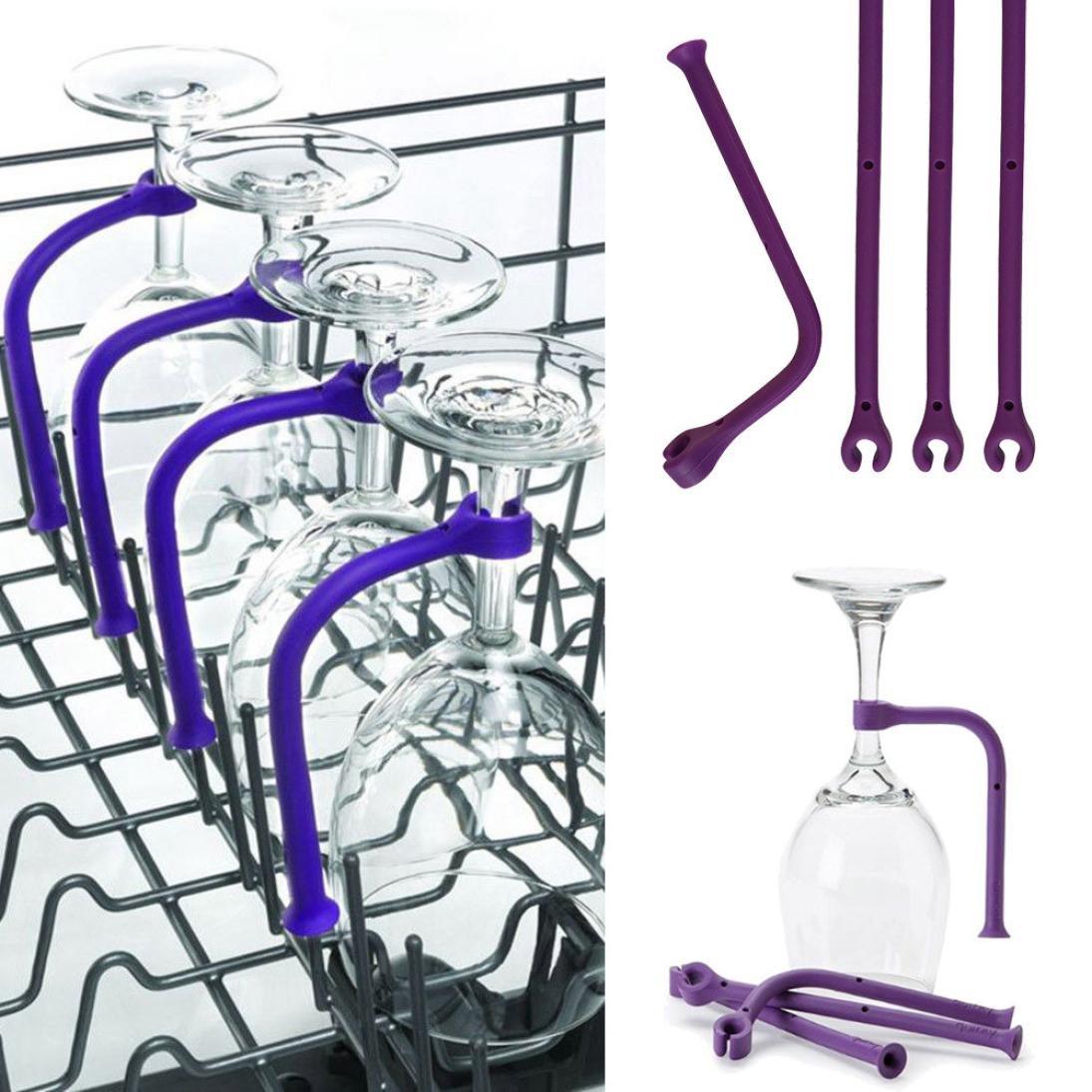 4Pcs kann die Biegung eingestellt Werden 4 x Weinglas Silikon Halter Weinglashalter,Weinregale Flexible