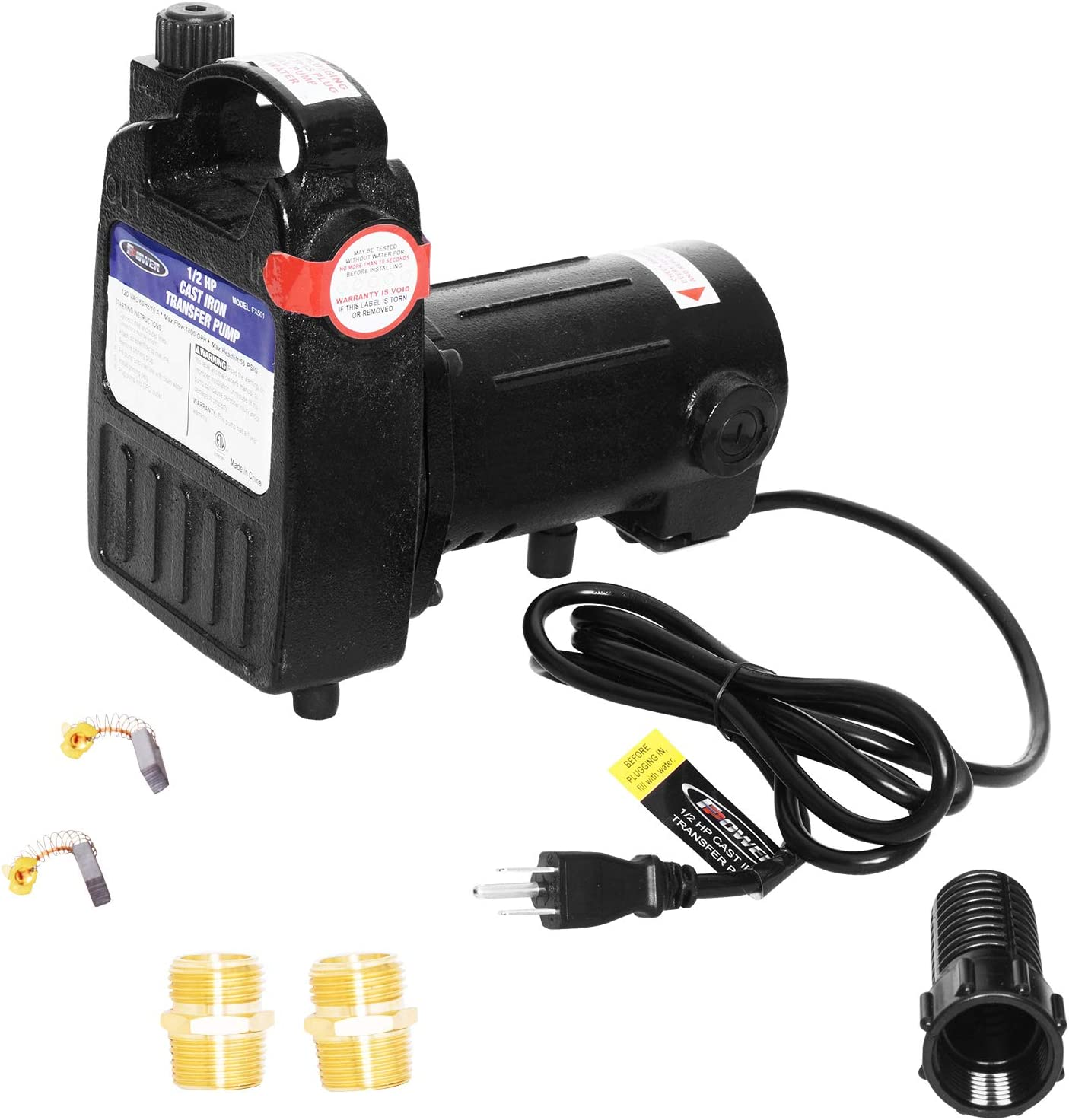 """FPOWER 115V 1/2 HP 1500 GPH High Pressure Cast Iron Casing Utility Portable Water Transfer Pump With Suction Strainer and Brass Connectors For Use With Standard 3/4"""" Hose"""