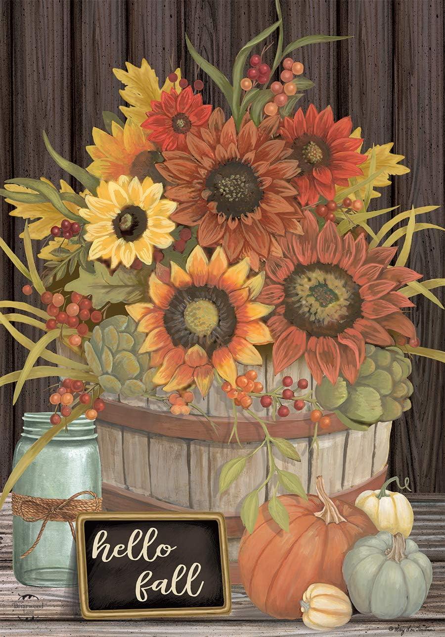 Briarwood Lane Hello Fall Floral Primitive Garden Flag Autumn Sunflowers 12.5