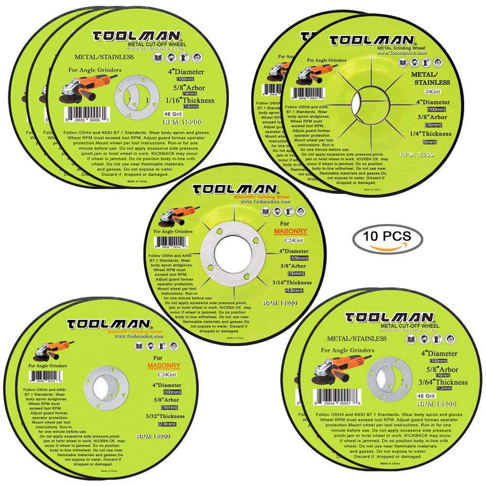 Toolman Premium Cut Off Cutting Wheel Universal Fit 10 pcs for metal and stainless steel works with DeWalt Makita Ryobi