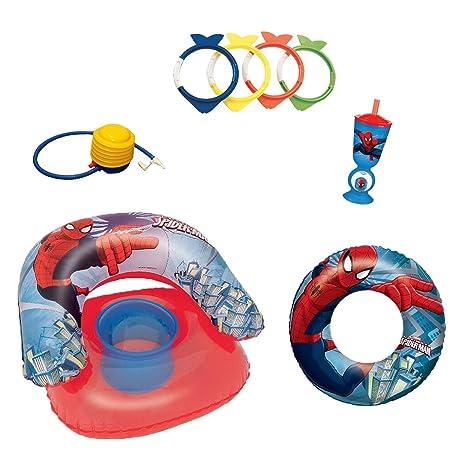 Ousdy - Pack Verano Spiderman / Sillón Hinchable + Flotador Hinchable + Anillos Peces Buceo +