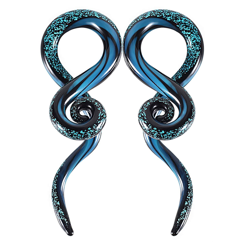 BodyJ4You 2PC Glass Ear Tapers Plugs 2G Dark Blue Sparkle Swirl Gauges Piercing Jewelry Set by BodyJ4You