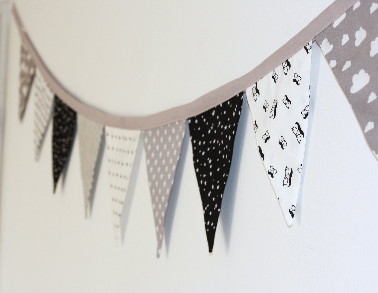 Flag Garland, Fabric Garland, Wall Decoration, Nursery Decoration, Black White and Grey Flag Banner