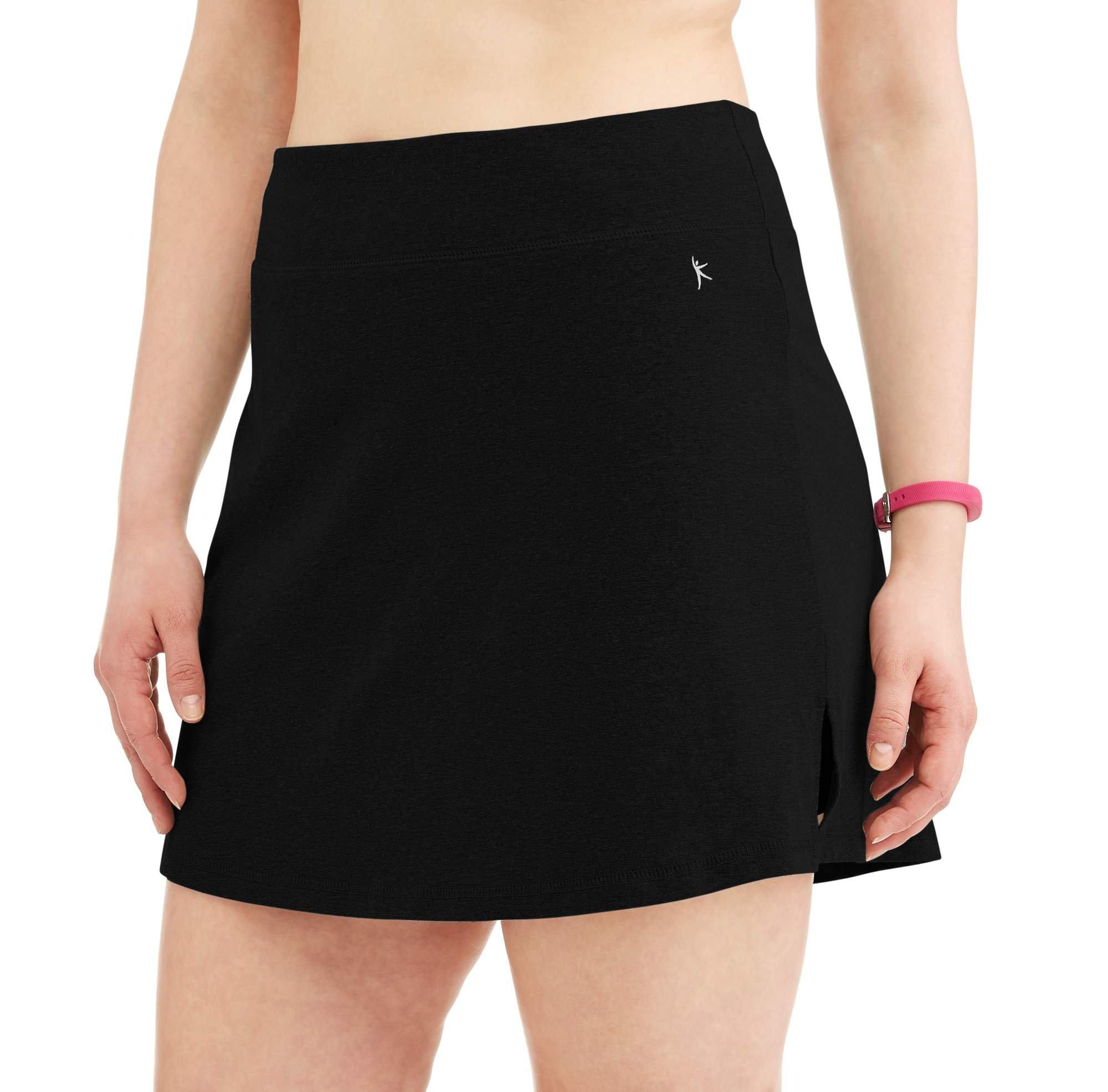 Danskin Now Women's Plus Size Activewear Athletic Cotton Blend Skort/Skirt with Built in Shorts (Black, 1X (16W))