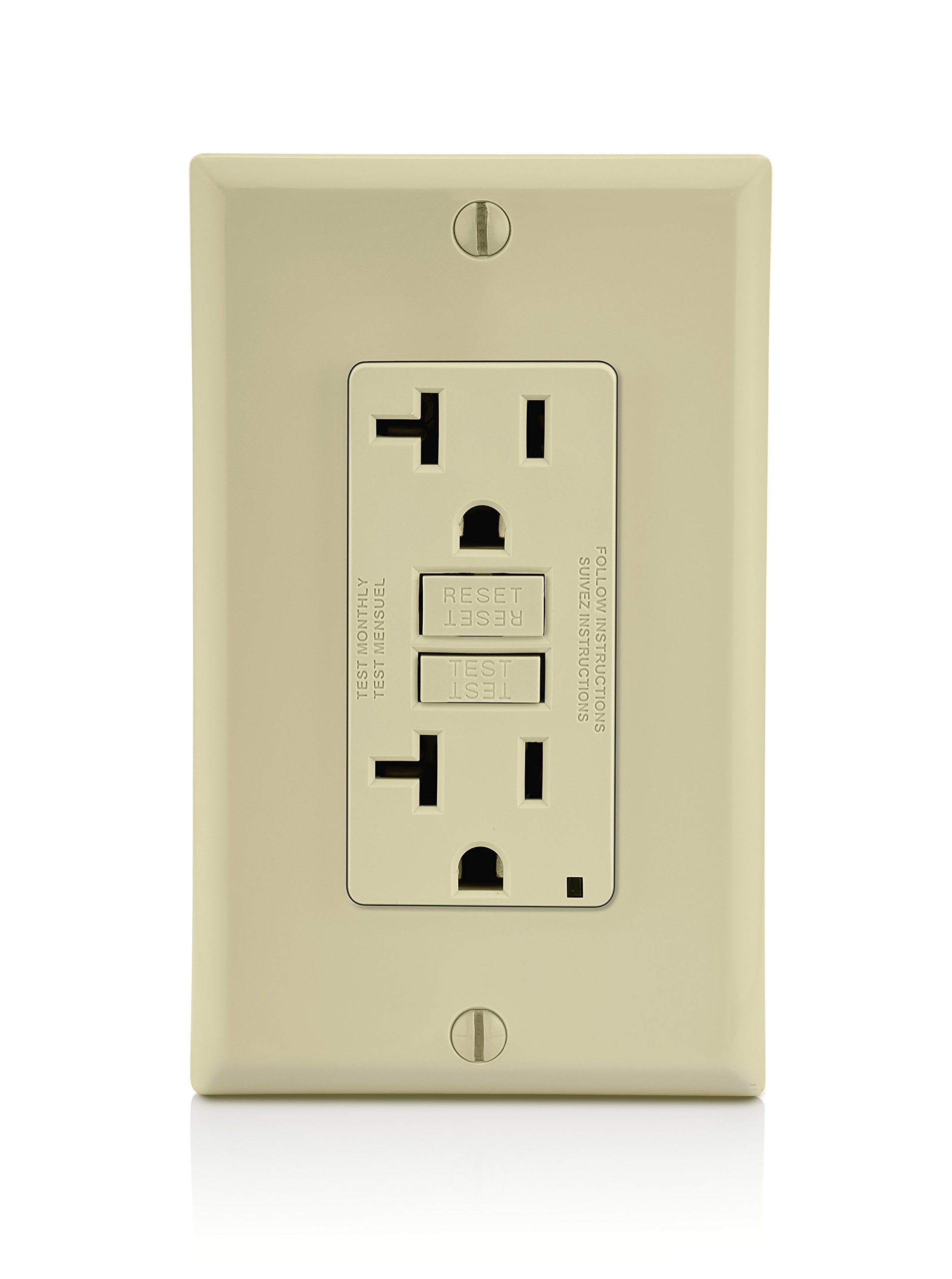15 Amp 2 LED Power Indicators Ground Fault Circuit Interruptor Duplex Four-Bros Lighting Tamper Resistant /& Weather Resistant GFI 120//125V 1 Single GFCI Outlet Receptacle White UL2008