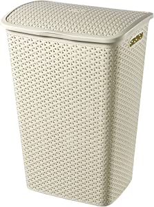 Curver My Style 55 L Rattan Effect Plastic Laundry Hamper, Vintage White