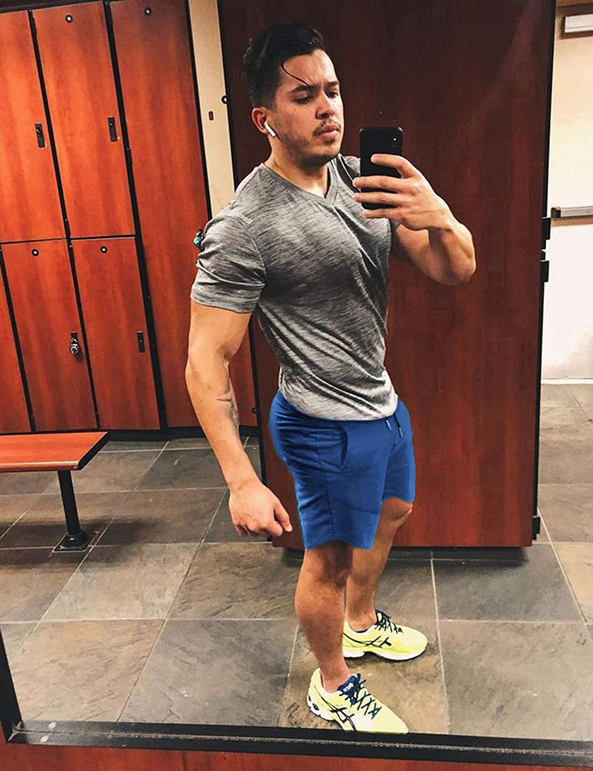 COOFANDY Mens Workout Gym Shorts Weightlifting Bodybuilding Squatting Fitness Jogger with Pockets Blue