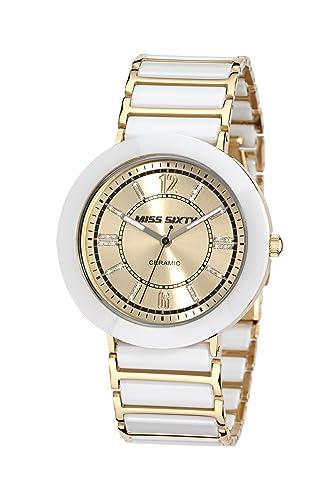 Miss Sixty SIR004 - Reloj analógico de Cuarzo para Mujer con Correa de cerámica, Color Blanco: Amazon.es: Relojes