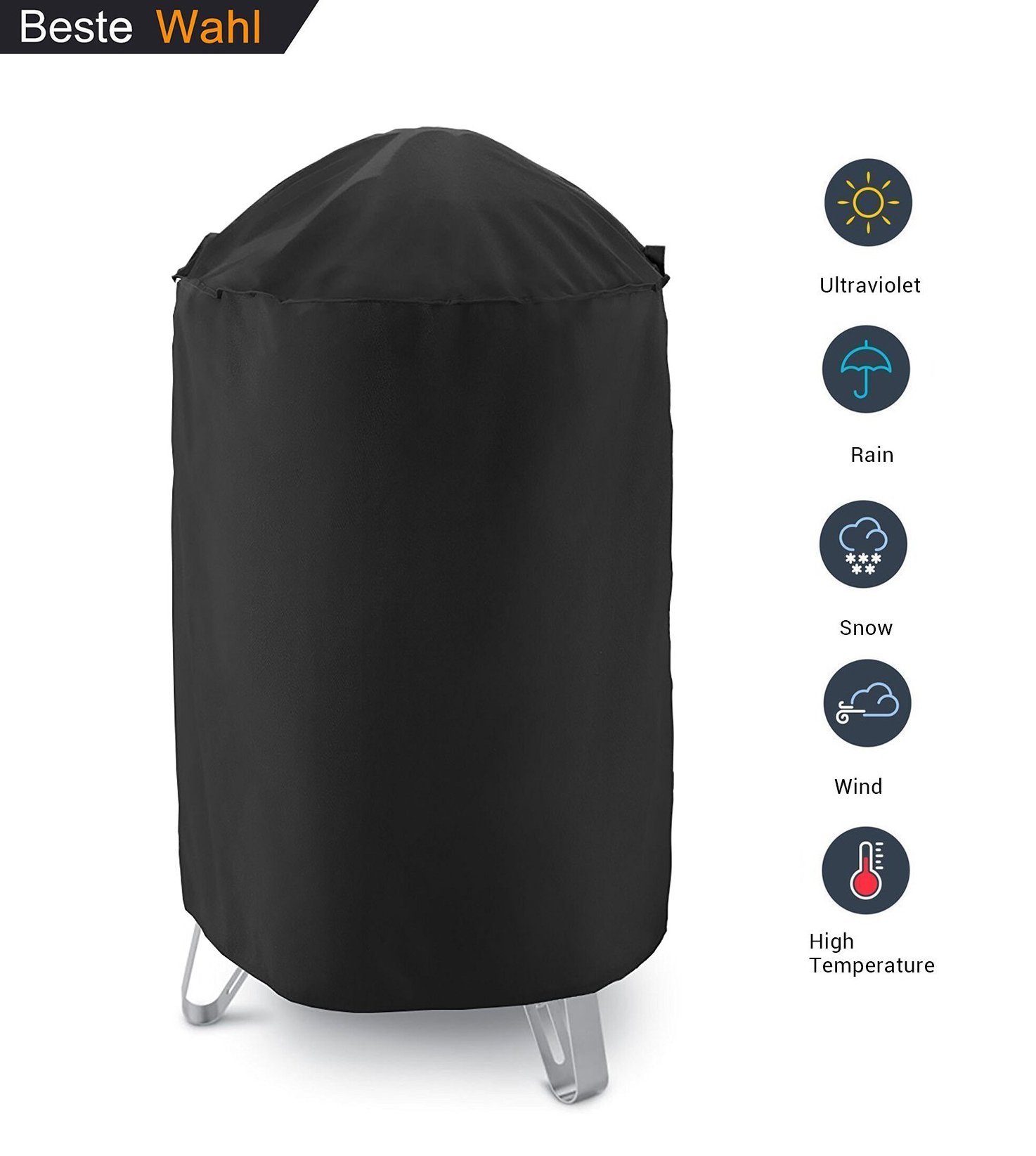 AKEfit Dome Smoker Cover, 30'' Dia x 36'' H,Heavy Duty Waterproof Barrel Cover, Vertical Water Smoker Cover, Round Kettle Grill Covers, All Weather Protection for Weber, Char-Broil and More