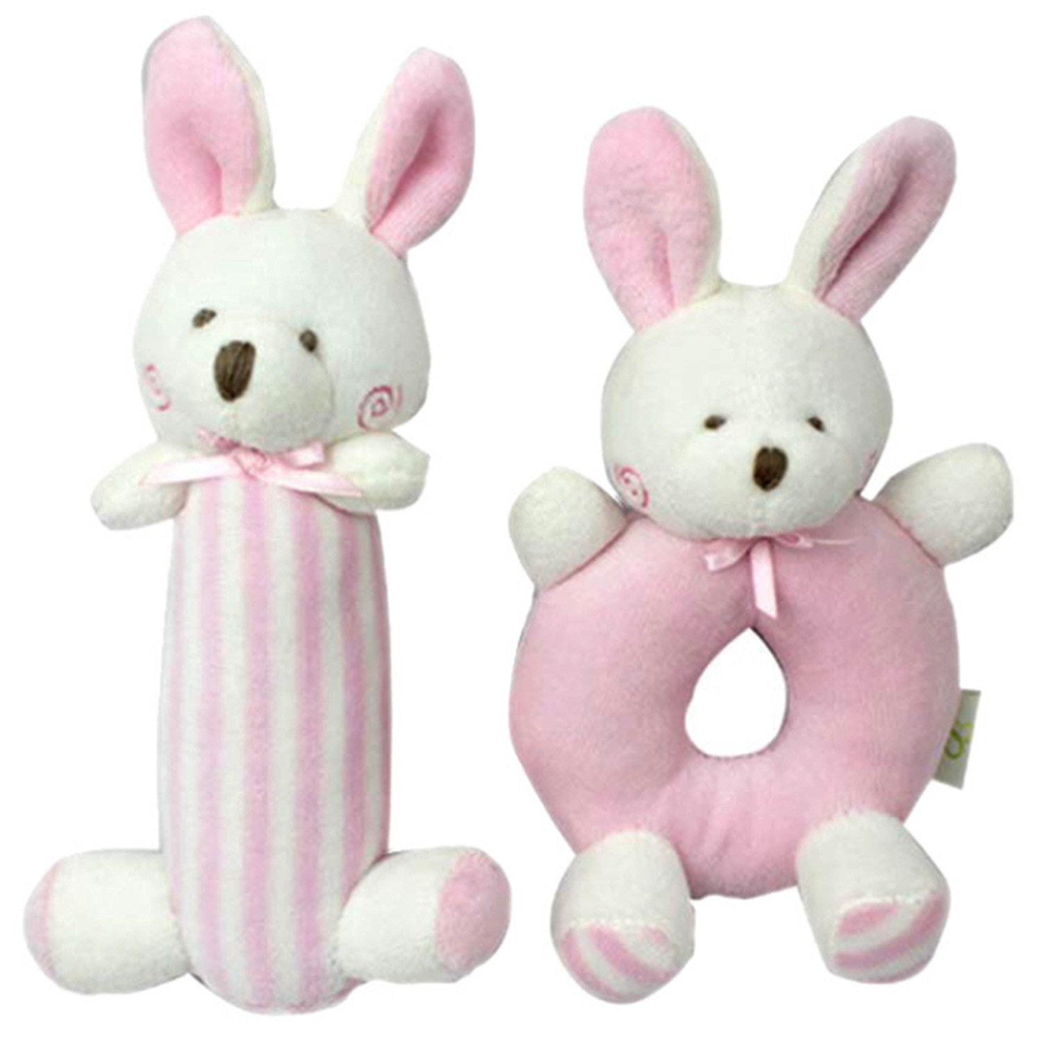 Amazleer Soft Baby Rattle Plush Sensory Activity Toy Grasping Ring Bell Rattles Baby Girl Gifts Baby Boy Hand Grasp Toys (Pink Bunny)