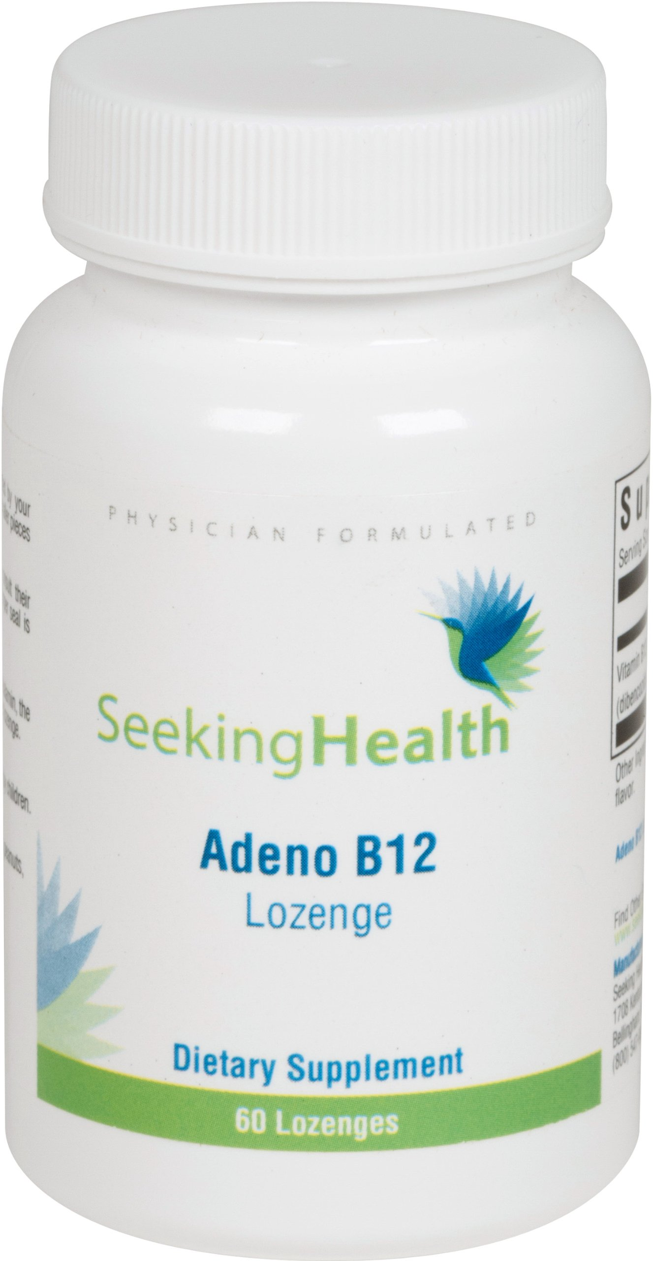 Adeno B12 Lozenge | 3,000 mcg Adenosylcobalamin | Mitochondrial Form of Vitamin B12 | 60 Lozenges | Free of Common Allergens and Magnesium Stearate |Seeking Health