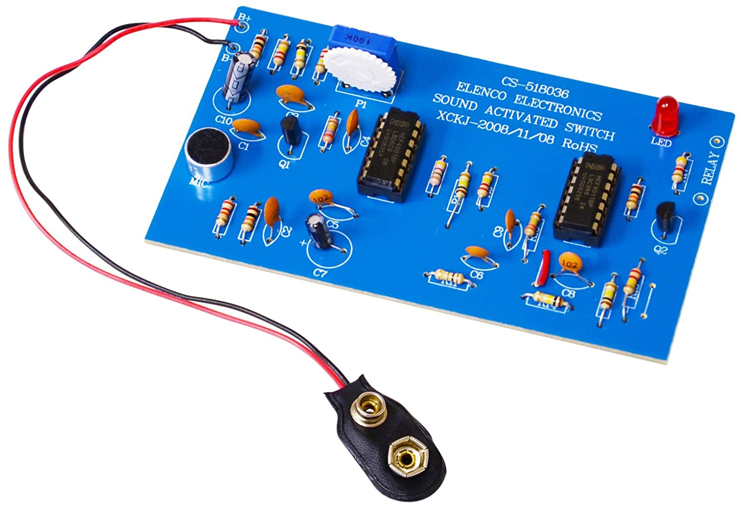 Amazon.com: Elenco Sound Activated Switch Soldering Kit with Iron and  Solder: Toys & Games