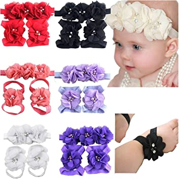 Toddler Newborn Infant Baby Girls Hairband Barefoot Sandals Foot Flower Headband
