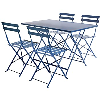 Charles Bentley - Salon de Jardin - Table rectangulaire/4 chaises - métal -  Bleu Marine