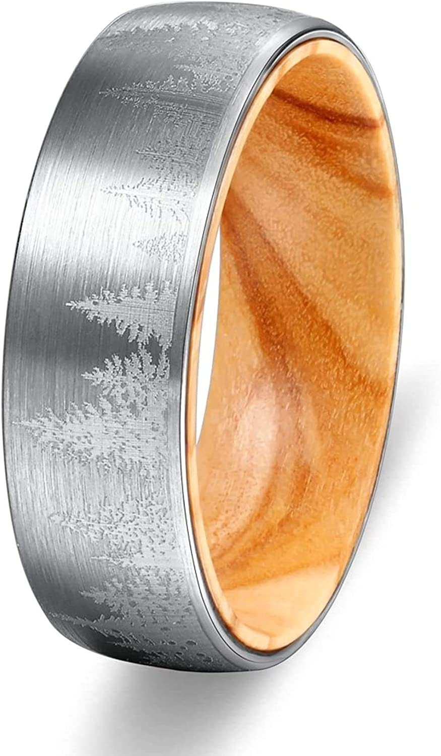 POYA 8mm Tungsten Ring Lasered Forest Landscap Men's Brushed Wedding Band with Oliver Wood Sleeve