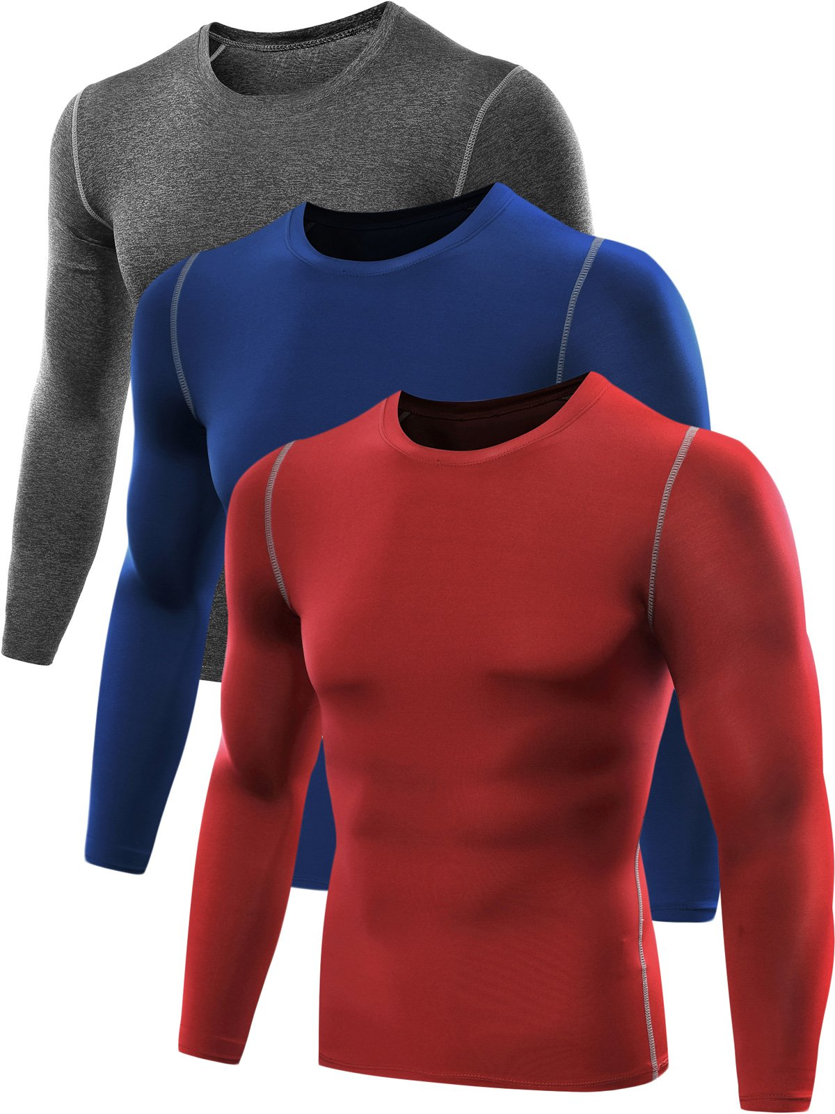 Neleus Men's 3 Pack Athletic Compression Sport Running T Shirt Long Sleeve Base Layer,Grey,Blue,Red,US S,EU M