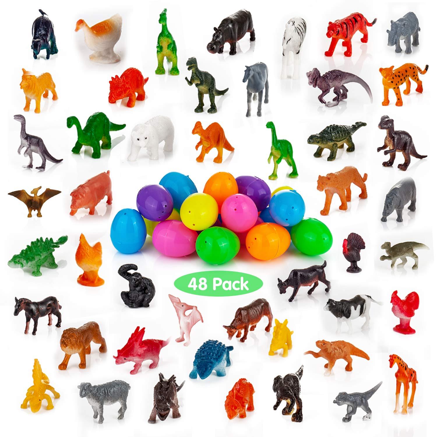 Easter Egg Stuffers Fillers YIHONG 48 Pcs Easter Eggs Prefilled with Assorted Natural World Animal Figures Bright Colorful Plastic Surprise Eggs for Kids Party Favors