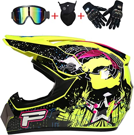 Motocross Helmet Full Face MTB Helmet with Goggles Gloves Mask Adult Motorcycle Helmet Set Motorbike Off Road Crash Helmet Protective Gear for Downhill Quad Bike Racing,Yellow,S