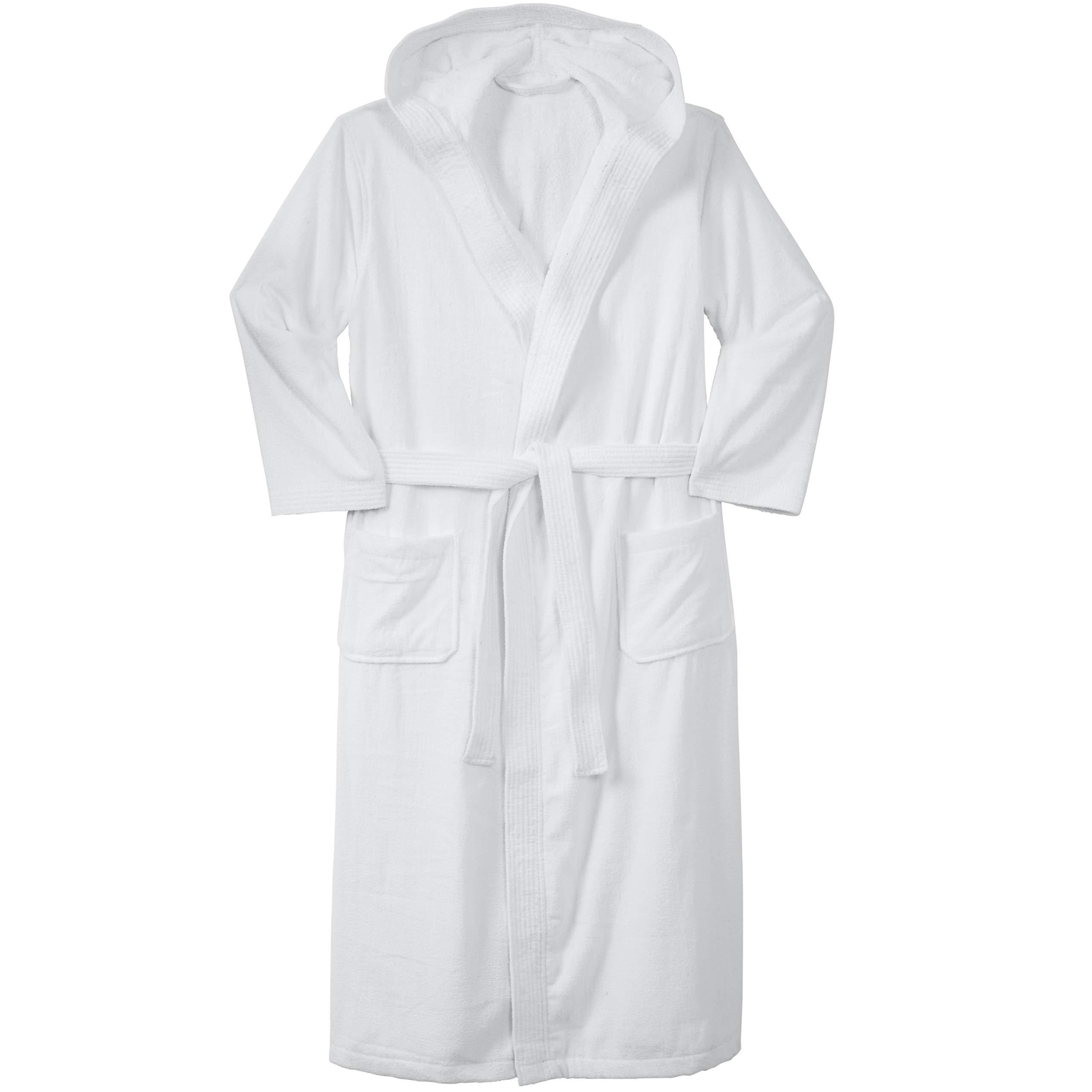 KingSize Men/'s Big /& Tall Terry Velour Hooded Maxi Robe Black Big-3Xl//4X